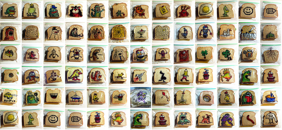 Illustrated sandwich bags